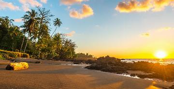 Sunrise on a beach in Corcovado National Park