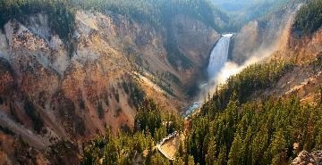 scenic overlook at yellowstone falls