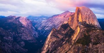 sunrise at half dome in yosemite national park