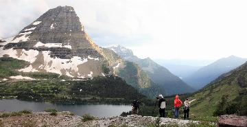 hikers viewing the scenery in glacier national park